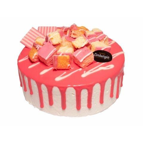Roze koeken drip cake