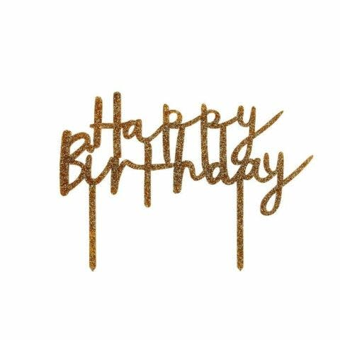 Taarttopper acrylgoud happy birthday